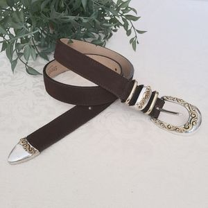 STREETS AHEAD Belt Suede Brown Gold Silver Buckle